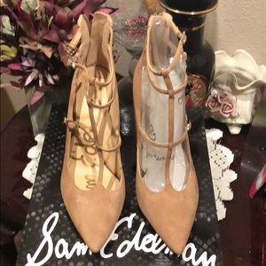 Sam Edelman suede tan strappy heels Shoes